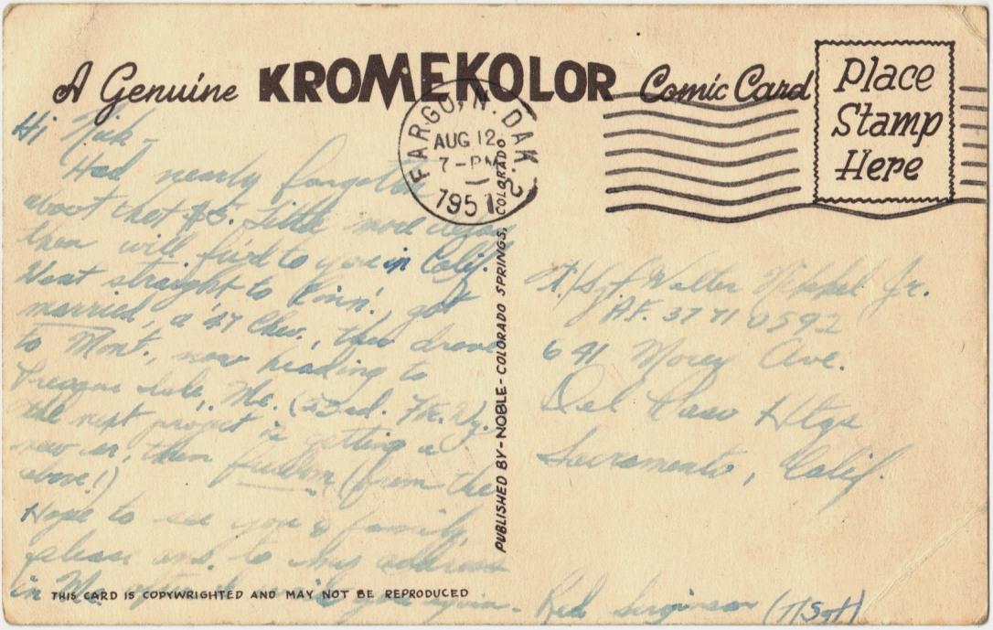 Fargo ND 1951 Postcard back