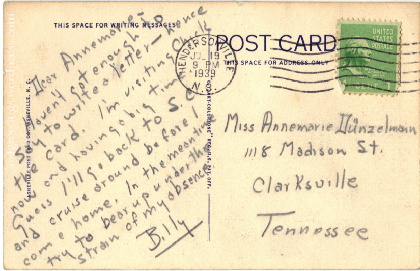 1939 Hendersonville NC message lg
