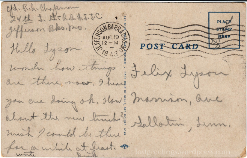 1943 Postcard message - Jefferson Bks Missouri lg