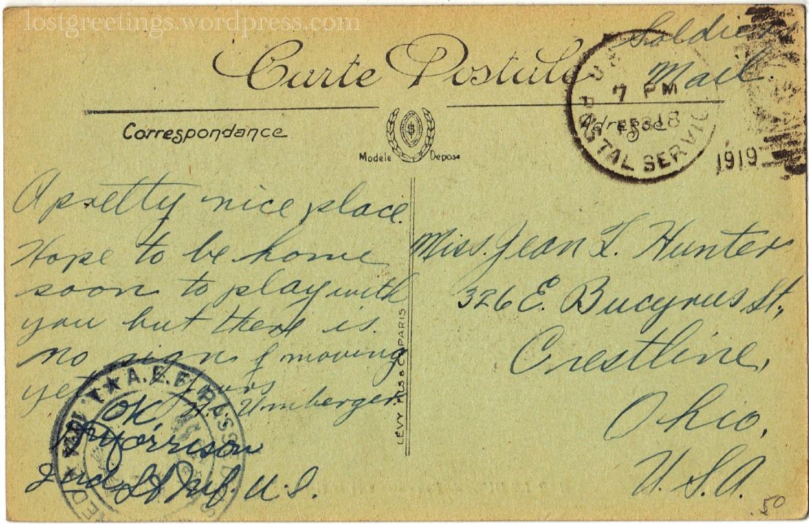 Great War Postcard Feb 1919 lg