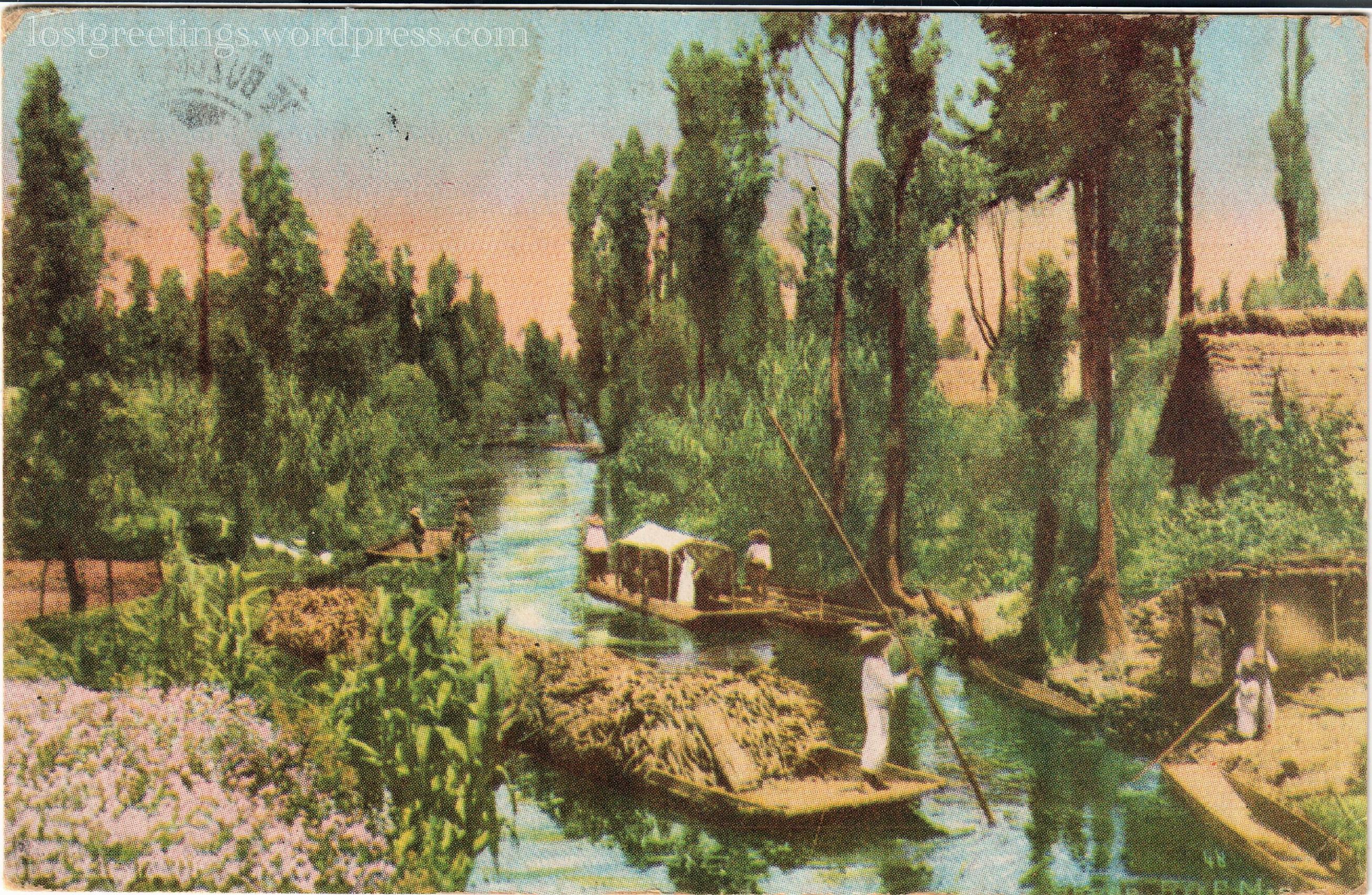 1920 Scenic Postcard Image - Xochimilco, Mexico lg