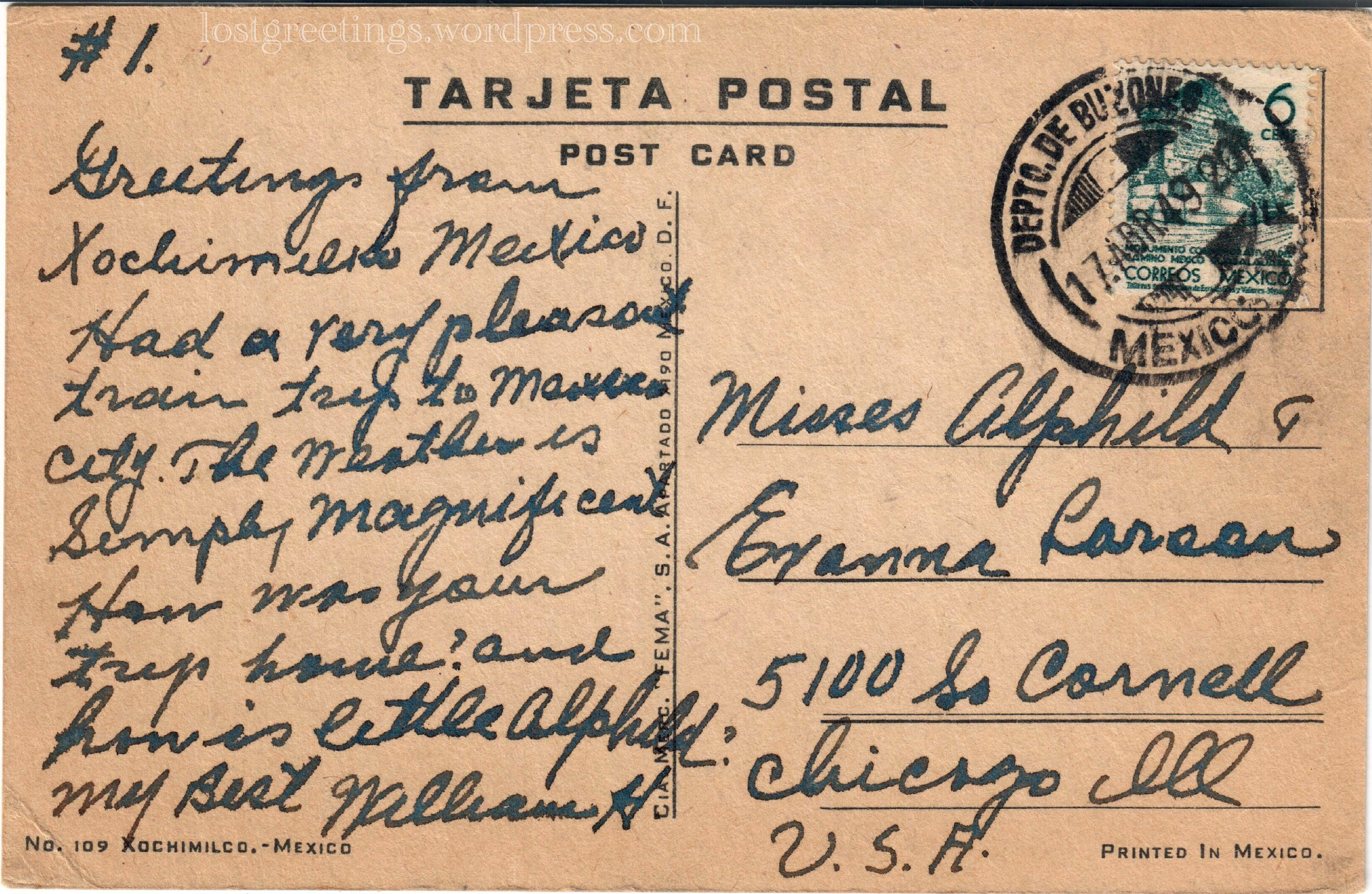 1920 Scenic Postcard Message - Xochimilco, Mexico lg