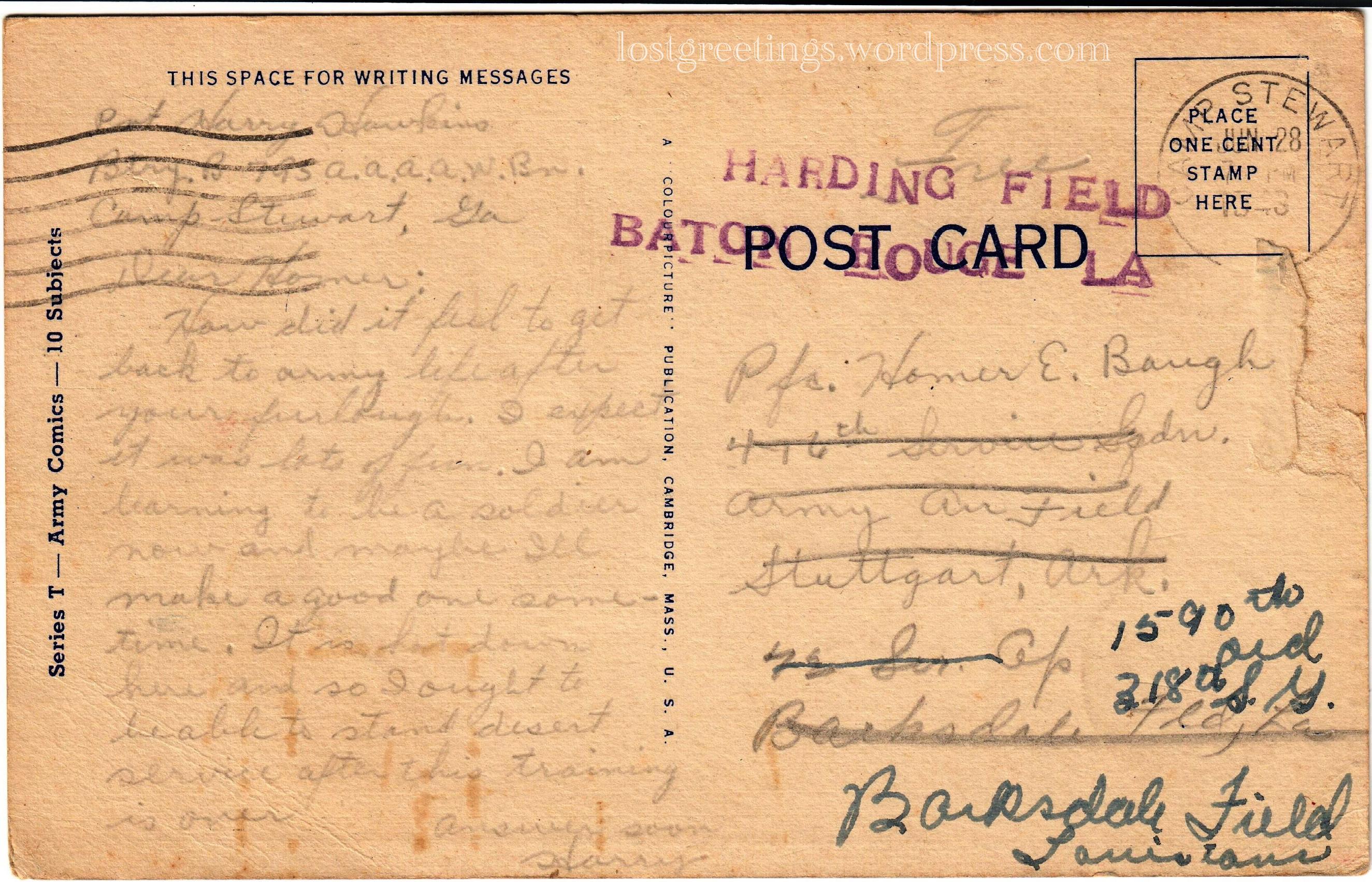 1943 Postcard Message - Camp Stewart Georgia lg