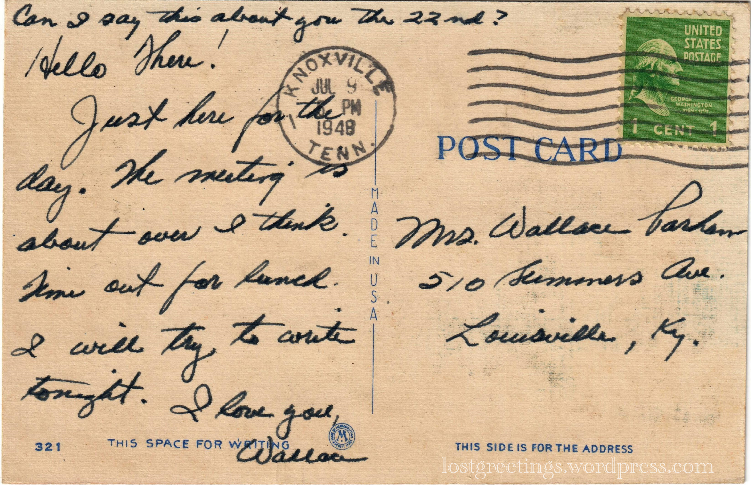 1948 Comic Postcard message - Knoxville, Tennessee lg