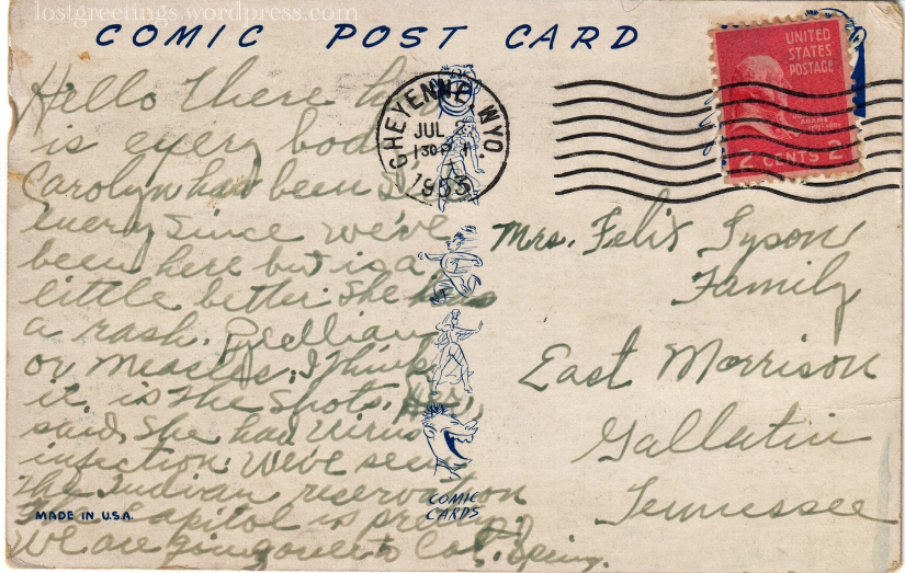 1953 Comic Postcard Message - Cheyenne, Wyoming lg