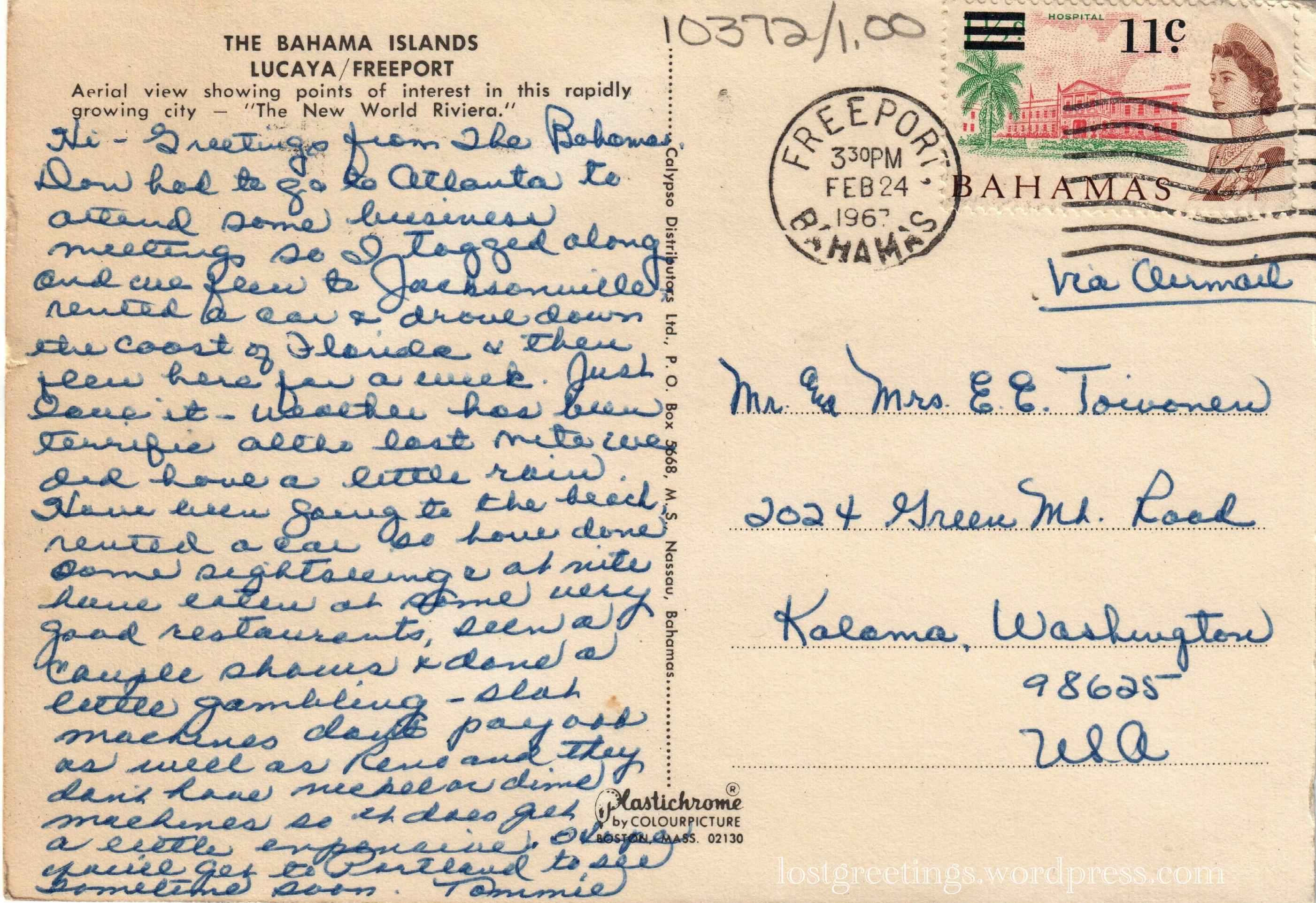 1967 Travel Postcard Message - Freeport, Bahamas lg