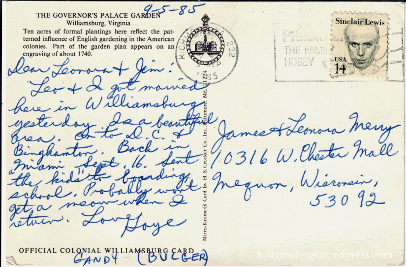 1985 Williamsburg, VA postcard message lg