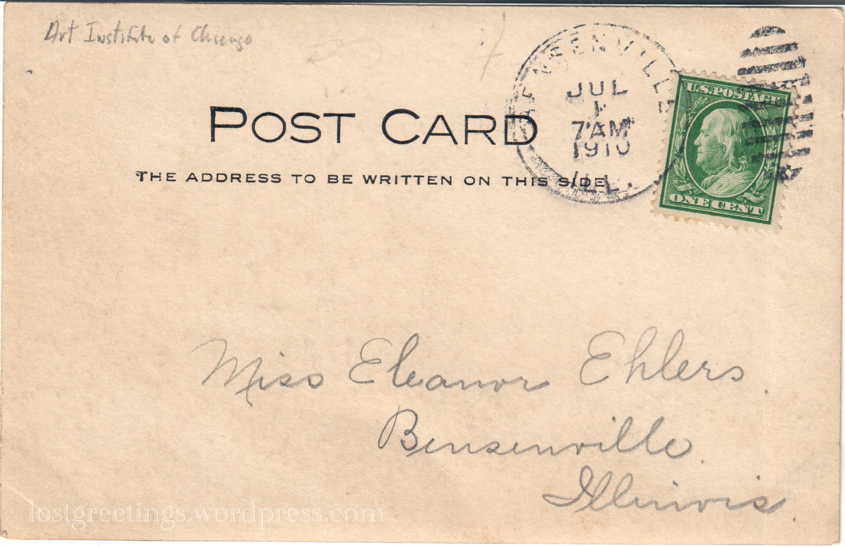 1910 Postcard reverse Bensenville, IL & Art Inst of Chicago