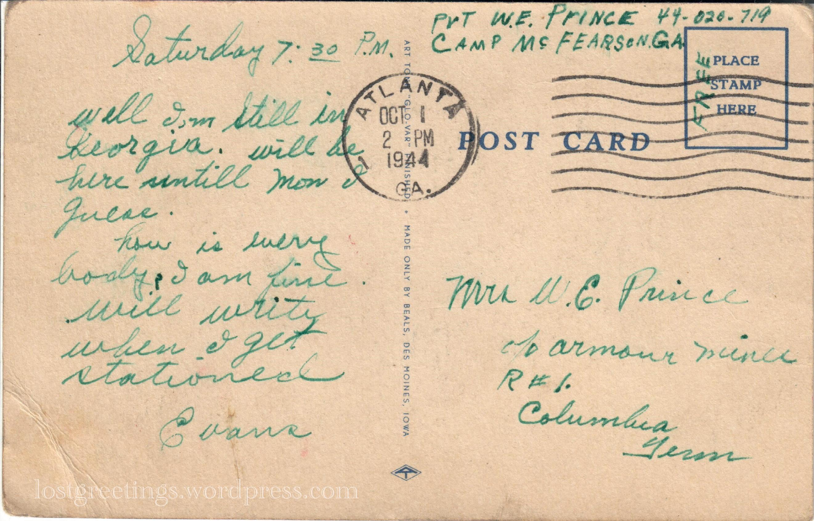 Camp McFearson Atlanta, GA - postcard message lg