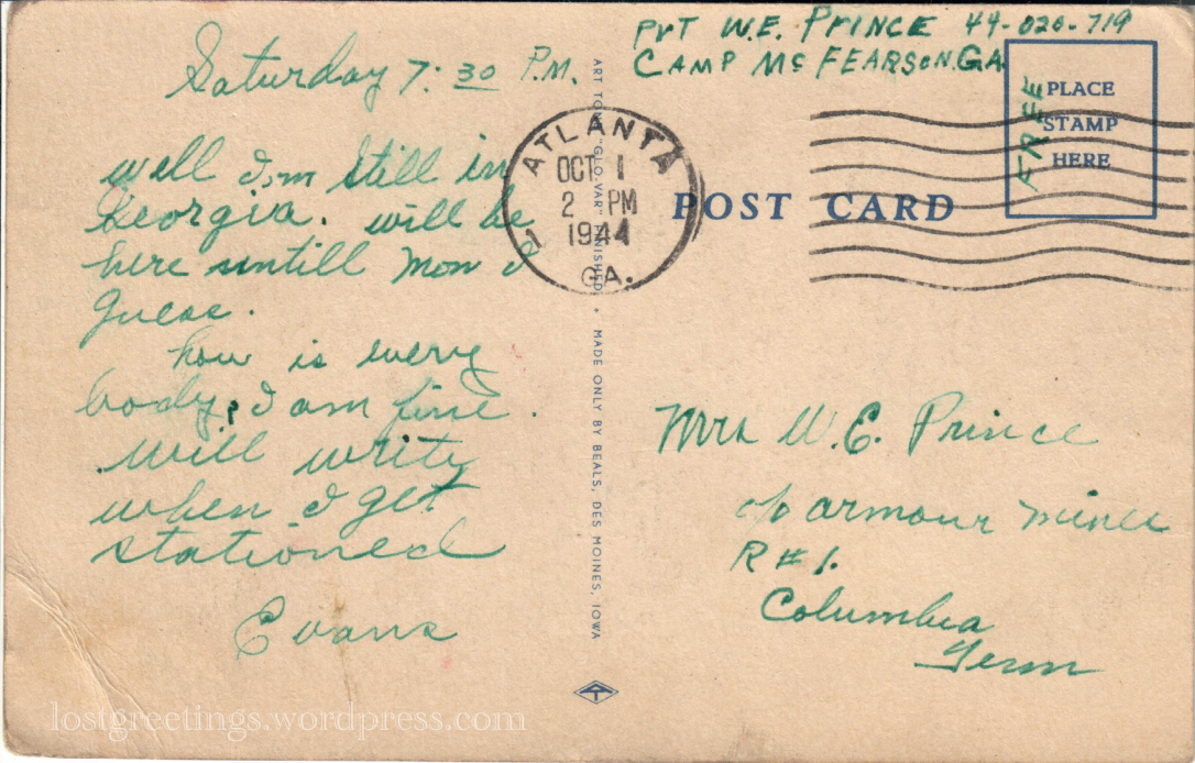 Camp McFearson Atlanta, GA - postcard message lg