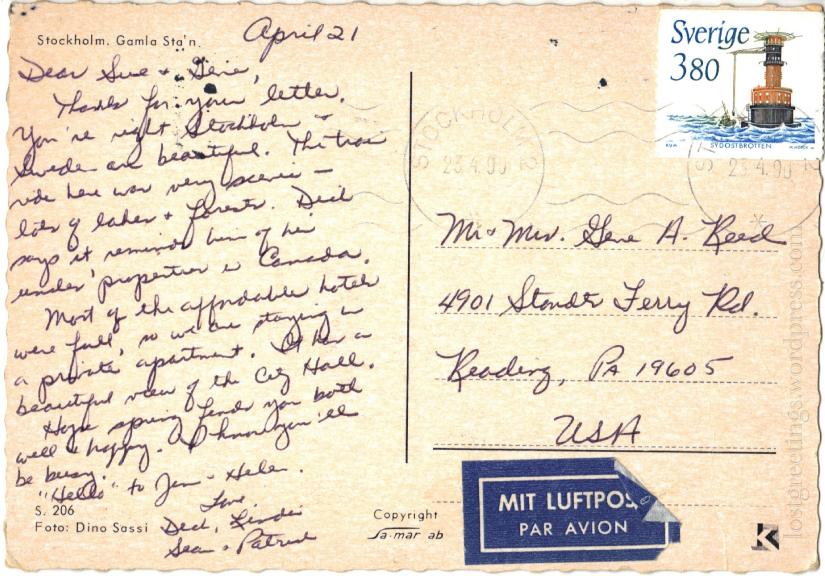 Stockholm Postcard 1990 message lg