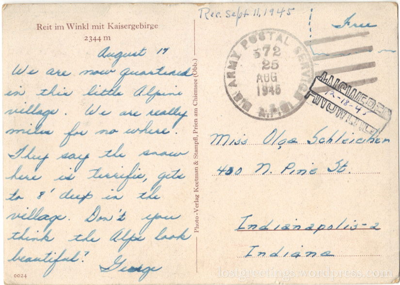 WWII Postcard Austria 1945 message lg