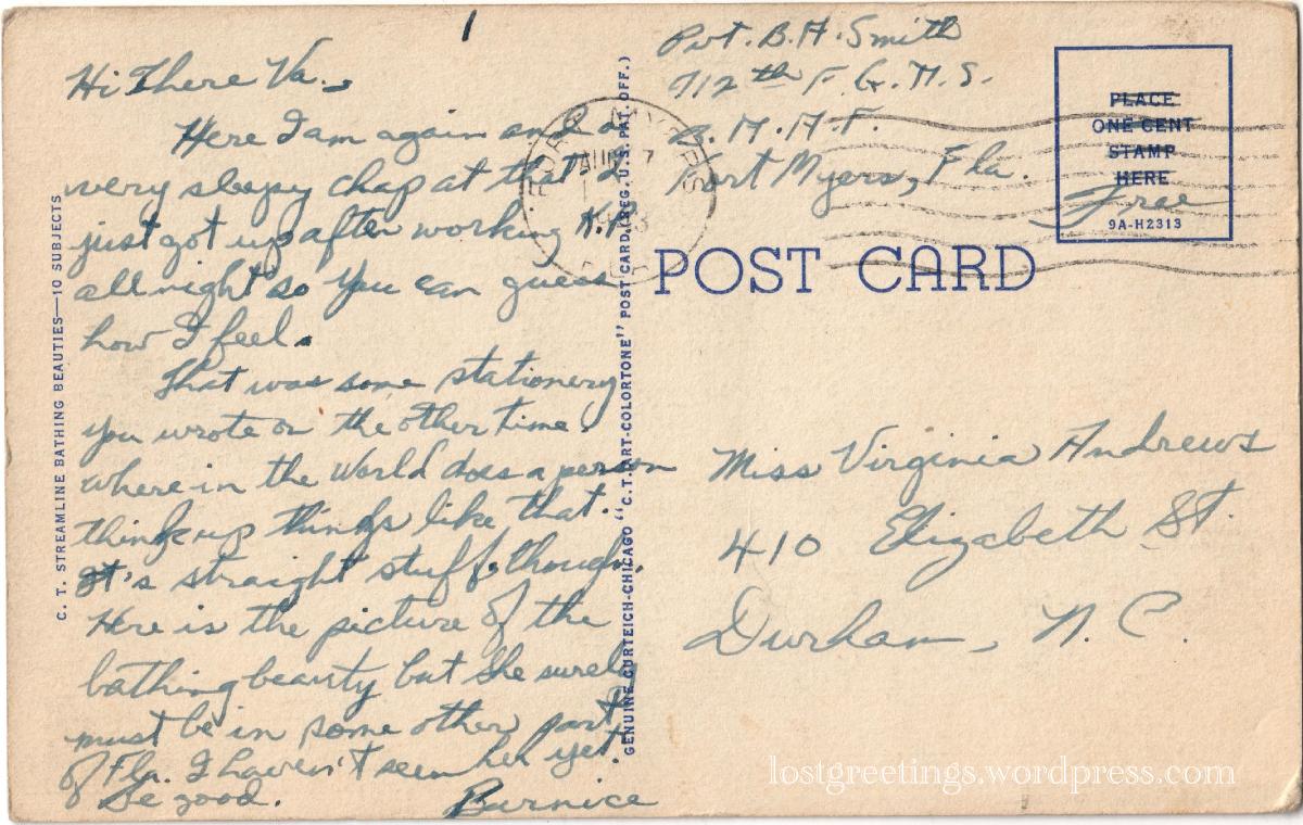 Fort Myers, FL 1943 postcard message V.Andrews lg