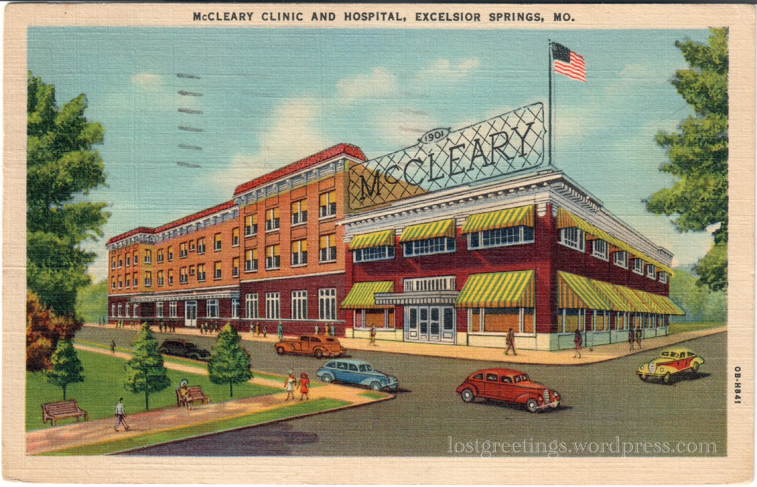 Excelsior Springs, Mo 1942- Medical Postcard lg