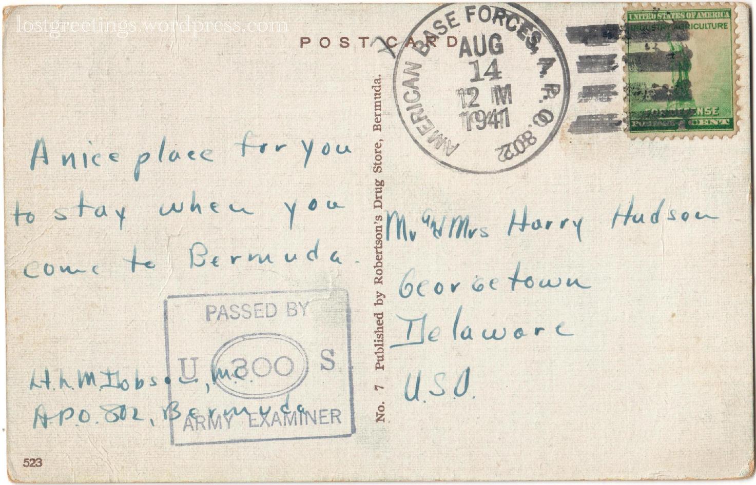 St George's, Bermuda APO 802 - 1941 Postcard Message lg