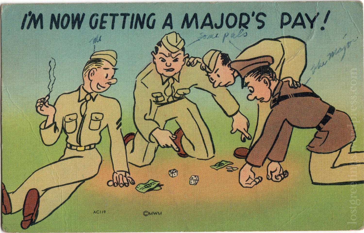 Camp Breckinridge, KY 1942 WW2 Comic Postcard lg