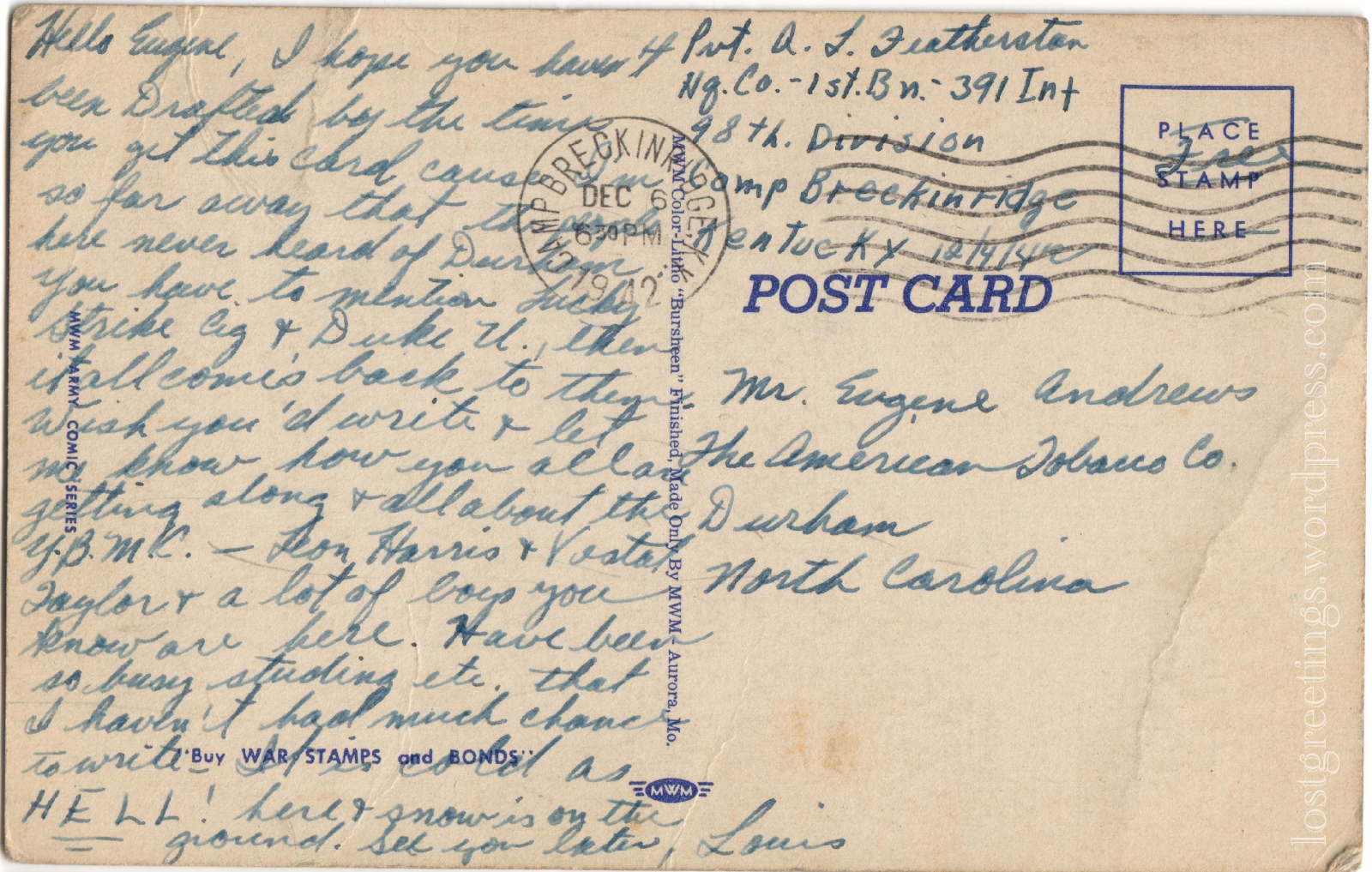 Postcard from Camp Breckinridge, Kentucky 1940s