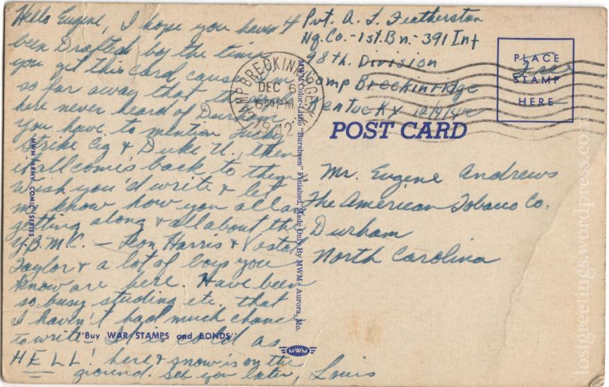 Postcard from Camp Breckinridge, Kentucky 1940s