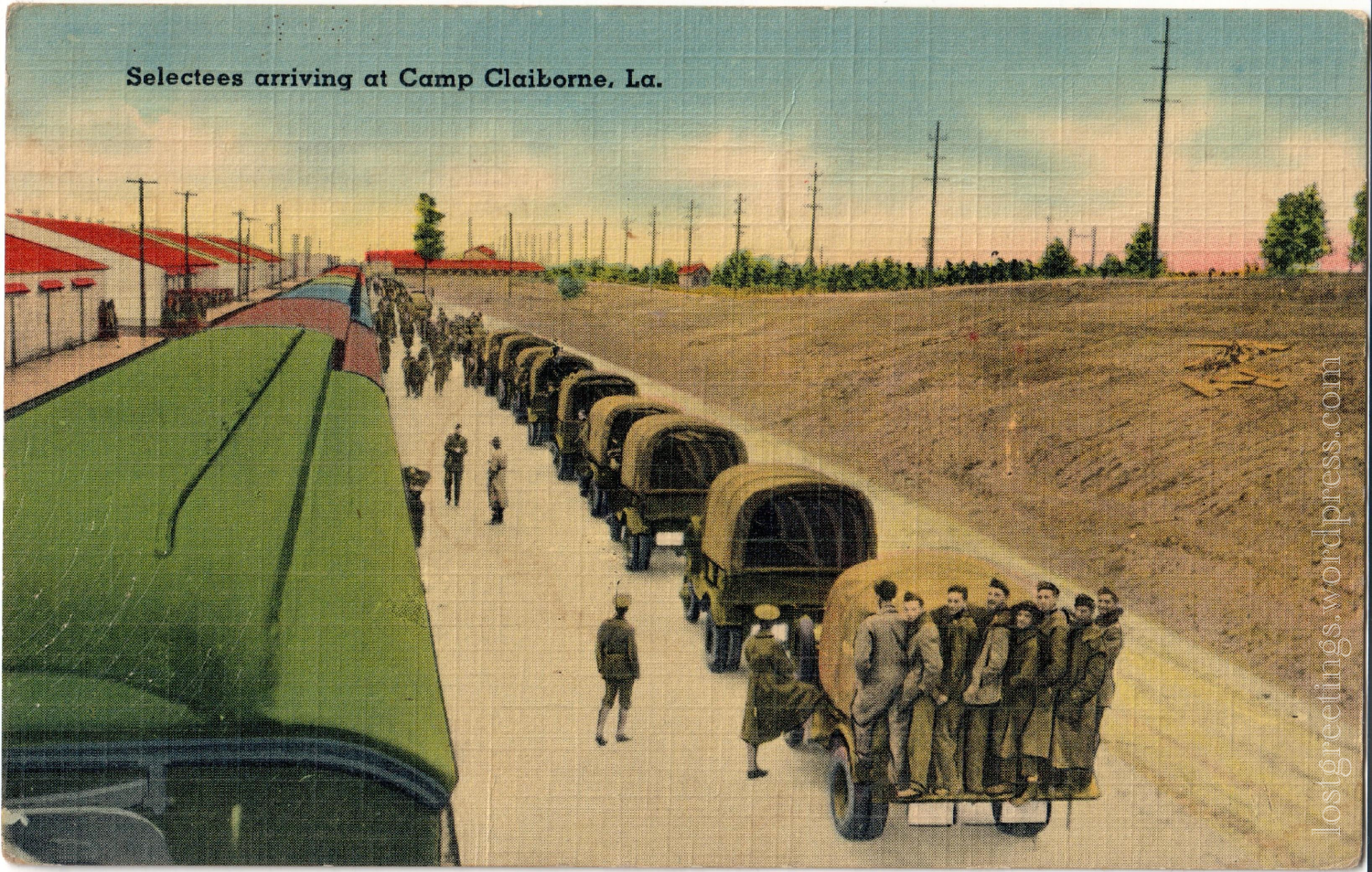 Vintage Linen Postcard, World War II - Camp Claiborne, Louisiana