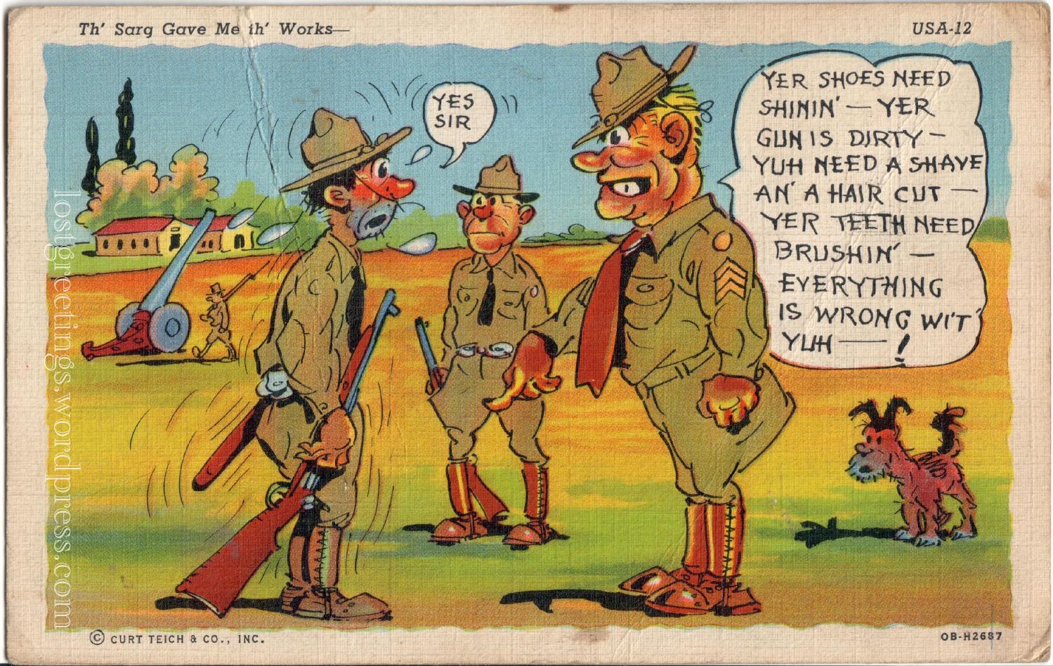 Sebring, FL 1942 WW2 Comic Postcard lg