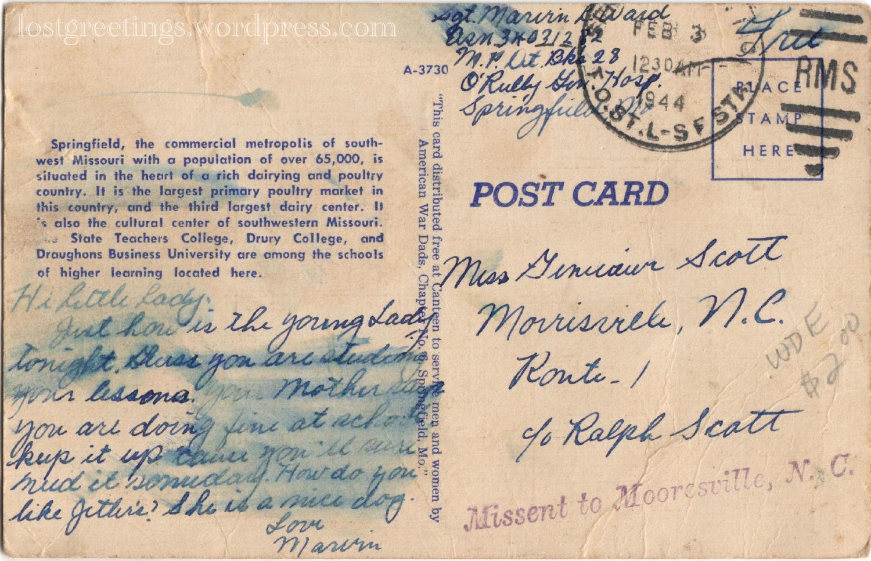 Springfield, MO 1944 WW2 Postcard message lg
