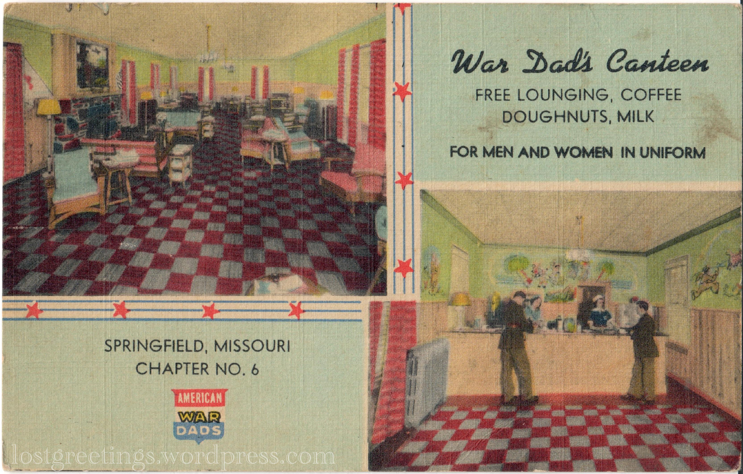Springfield, MO War Dad_s Canteen 1944 ww2 postcard lg