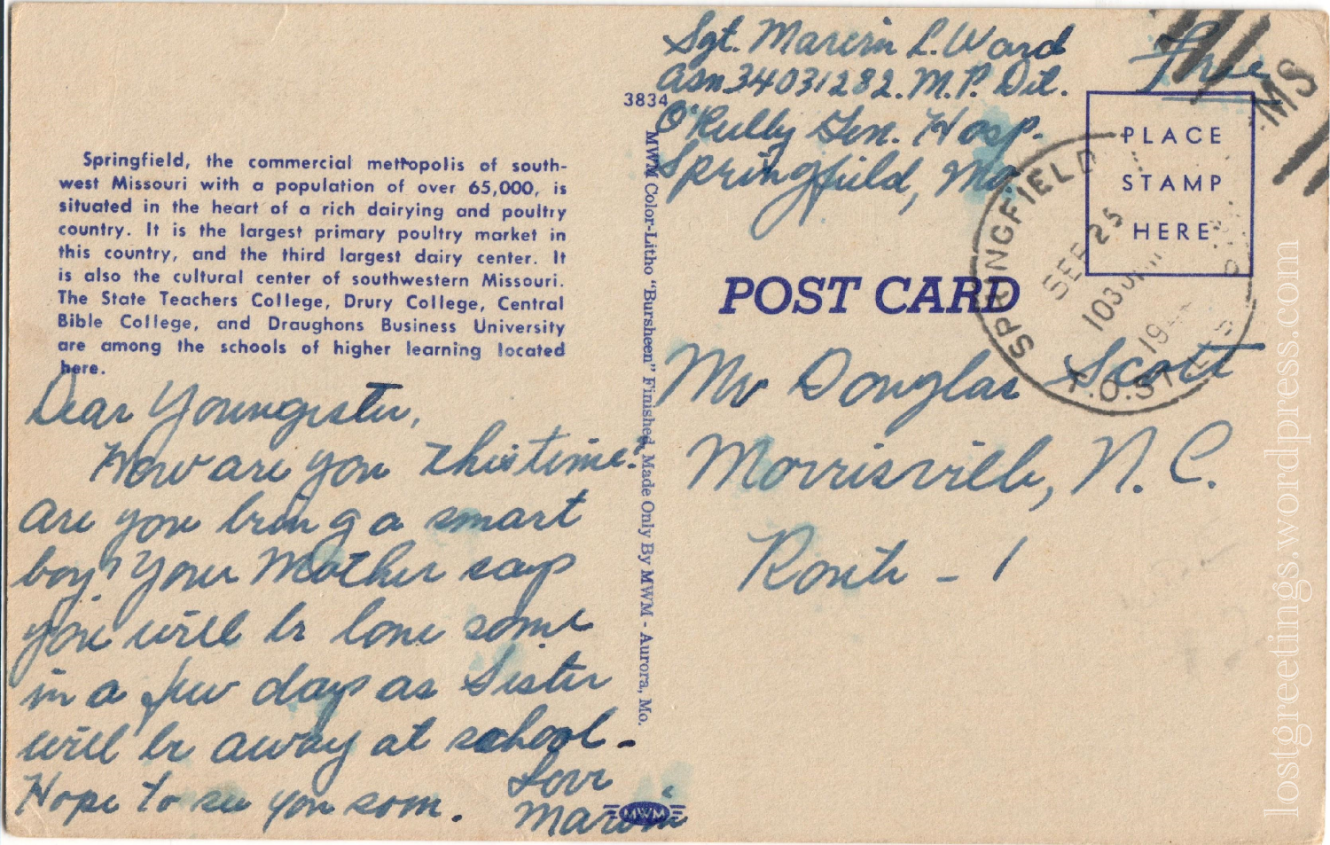 Springfield, MO War Dad_s Canteen 1944 ww2 postcard message lg