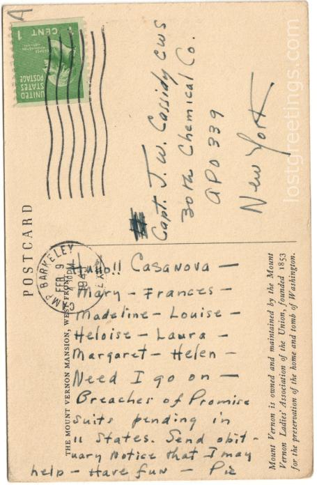 Postcard Casanova, Camp Barkeley TX 1943 lg