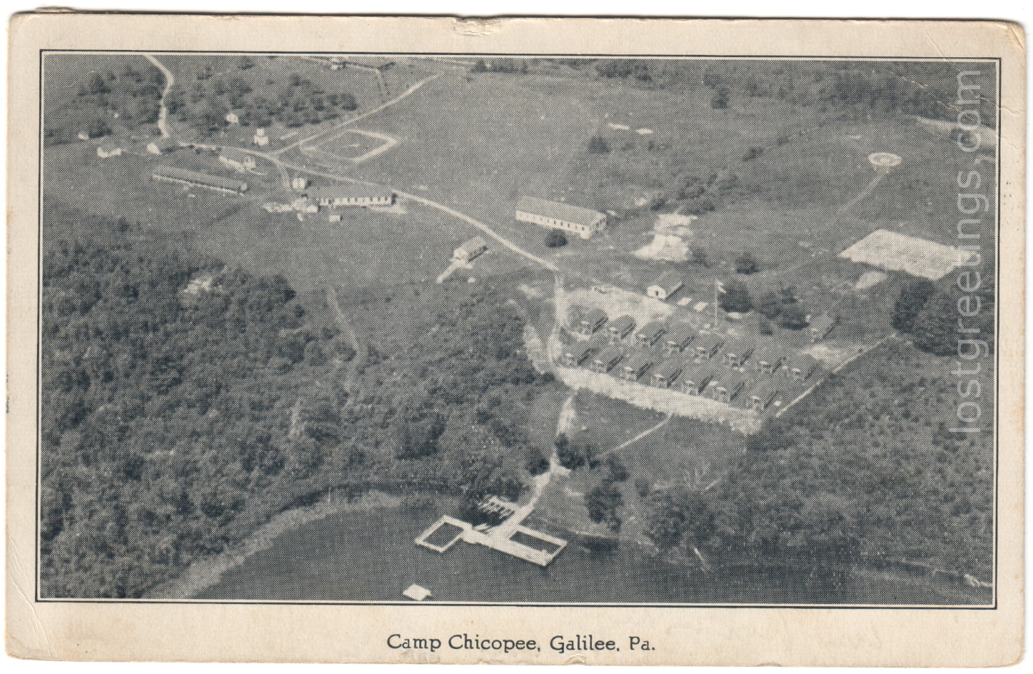 Postcard Camp Chicopee, Galilee, PA 1943 lg