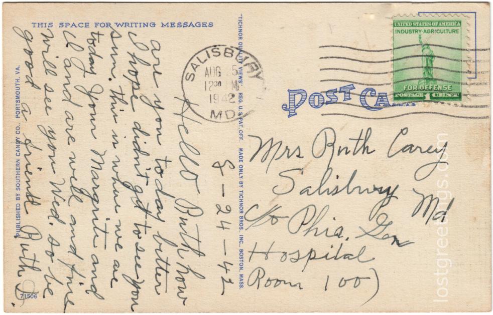 Salisbury, MD 1942 Message corrected lg