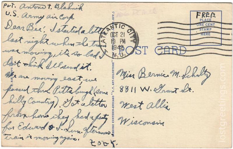 Atlantic City, NY 1945 Keep 'em Flying Air Corps message lg