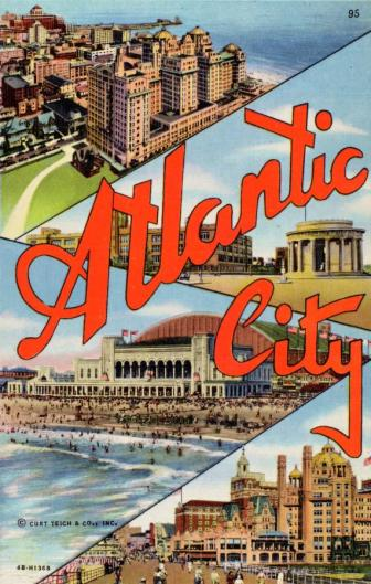 1940s Atlantic City Postcard showing hotels and convention center